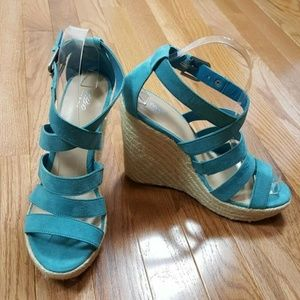 "Sandals Size 7 1/2 Espadrille Wedge 5"" Platform"